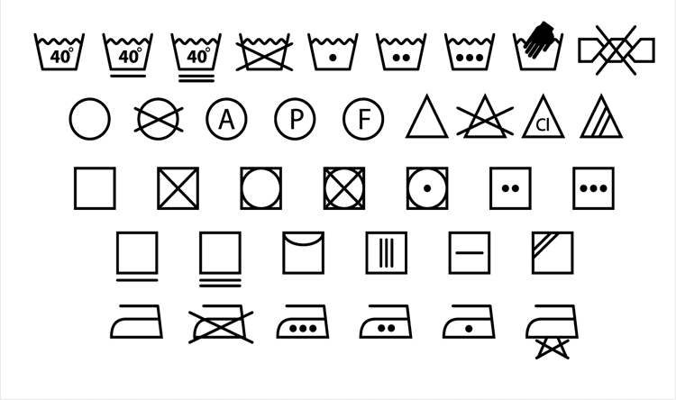symboly pro praní