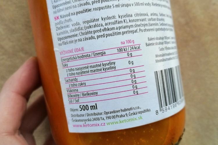 ketomix sirup s pomerančovou příchutí výživové údaje