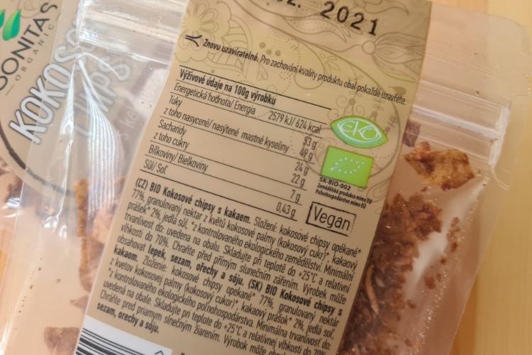 Bonita BIO kokosové chipsy s kakaem složení