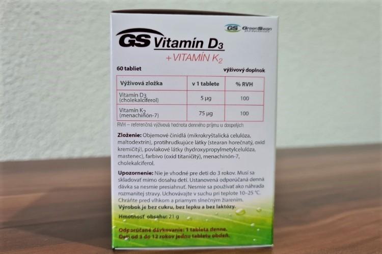 GS Vitamin D3 + Vitamin K2 složení