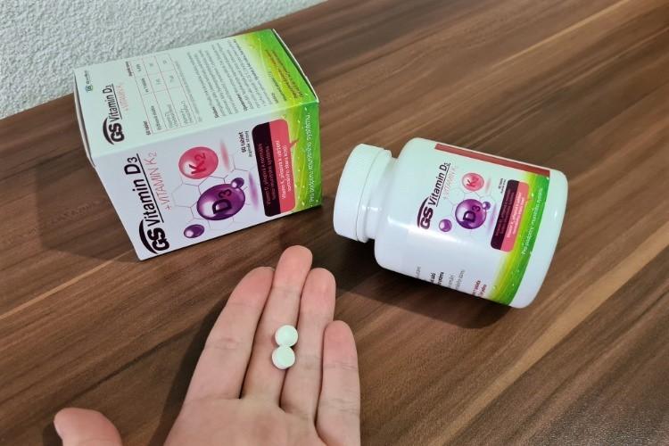GS Vitamin D3 + Vitamin K2 velikost tablet