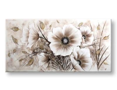 Malovaný obraz na stěnu květiny